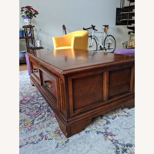 Used Raymour & Flanigan Wood Storage Coffee Table for sale on AptDeco
