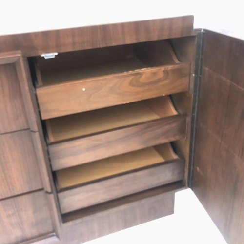 Used Mid-Century Brutalist Dresser with Mirror for sale on AptDeco