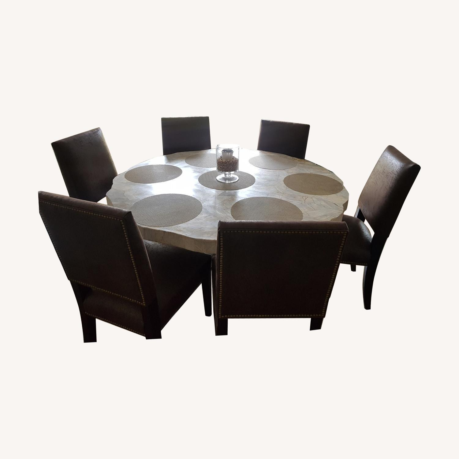 Arhaus Luxury Peta Round Dining Table with 6 Chairs - image-0