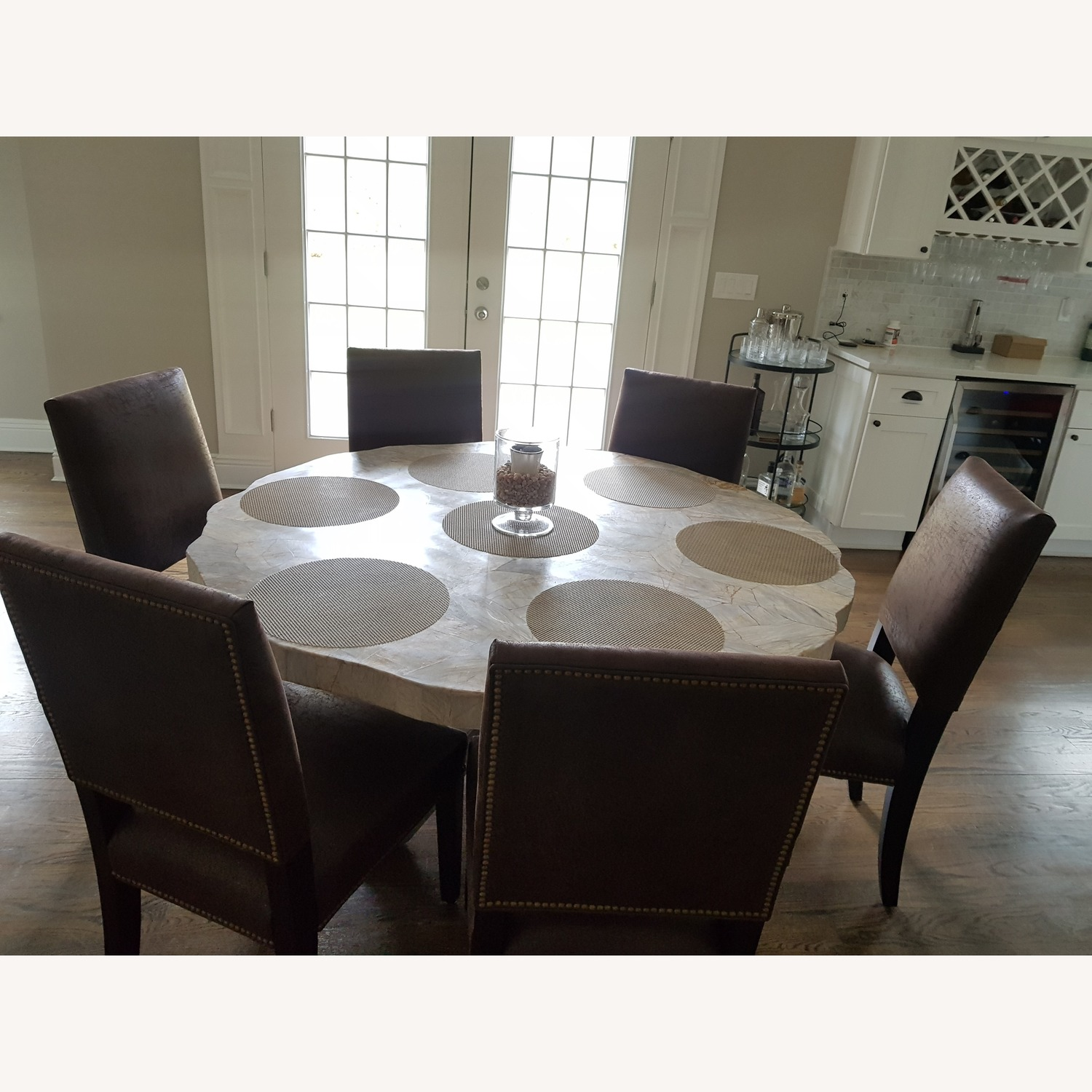 Arhaus Luxury Peta Round Dining Table with 6 Chairs - image-1