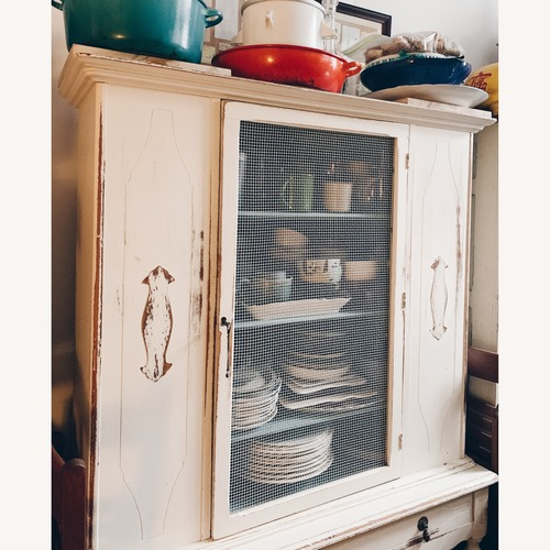 Used Farmhouse cabinet with chicken wire doors for sale on AptDeco