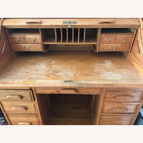 Used Vintage Oak Roll Top Desk for sale on AptDeco
