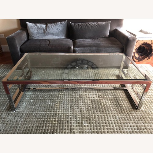 Used Holly Hunt Glass/Stainless Coffee table for sale on AptDeco