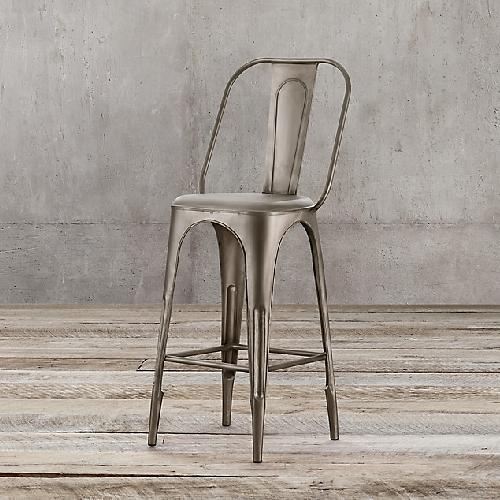 Used Restoration Hardware Remy Barstool - Gunmetal - Set of 4 for sale on AptDeco