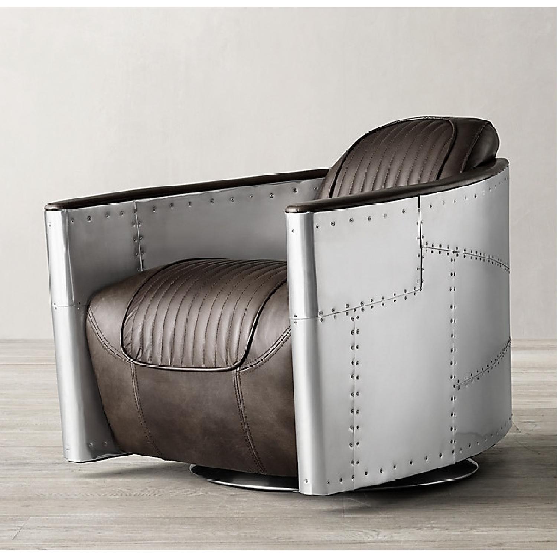 Restoration Hardware Aviator Swivel Chair - image-9