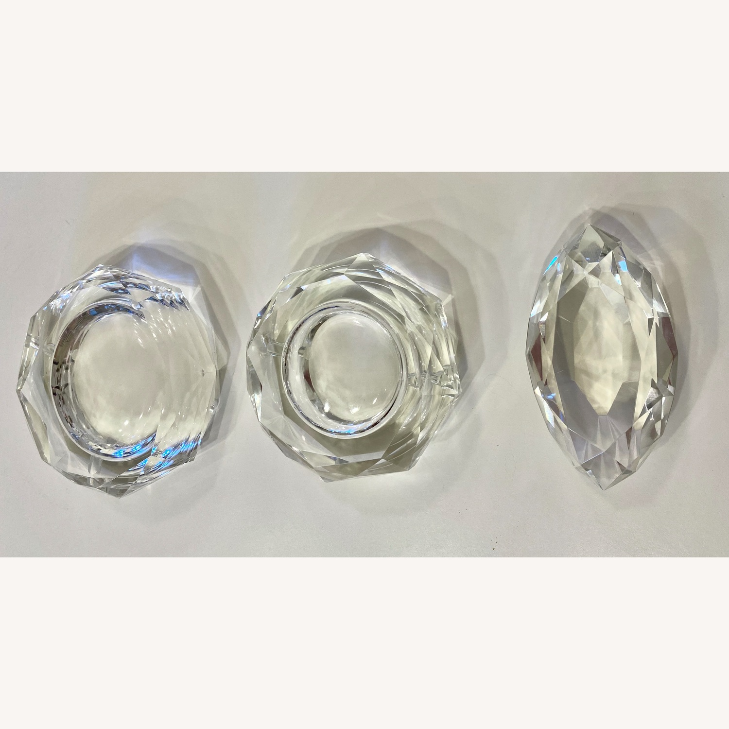 3 Heavy Weight Prism Cut Glass Ash Trays Paper Weight