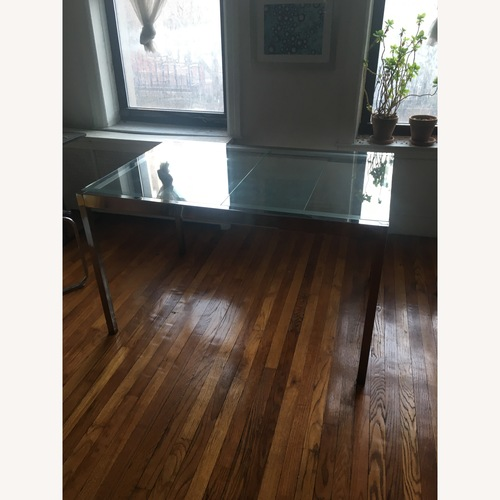Used IKEA Expanding Glass and Chrome Dining Table for sale on AptDeco