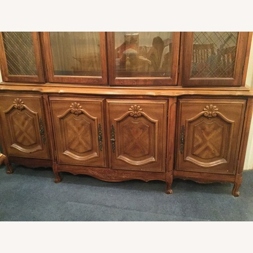 Used Classy Wood and Glass Credenza w/Hutch for sale on AptDeco