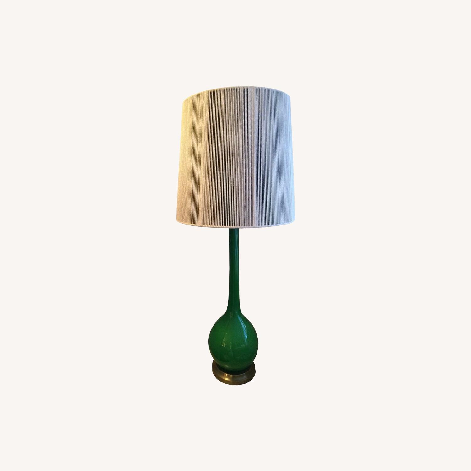 Pair of 1960s Green Glass Venetian Lamps with Custom Shades - image-4