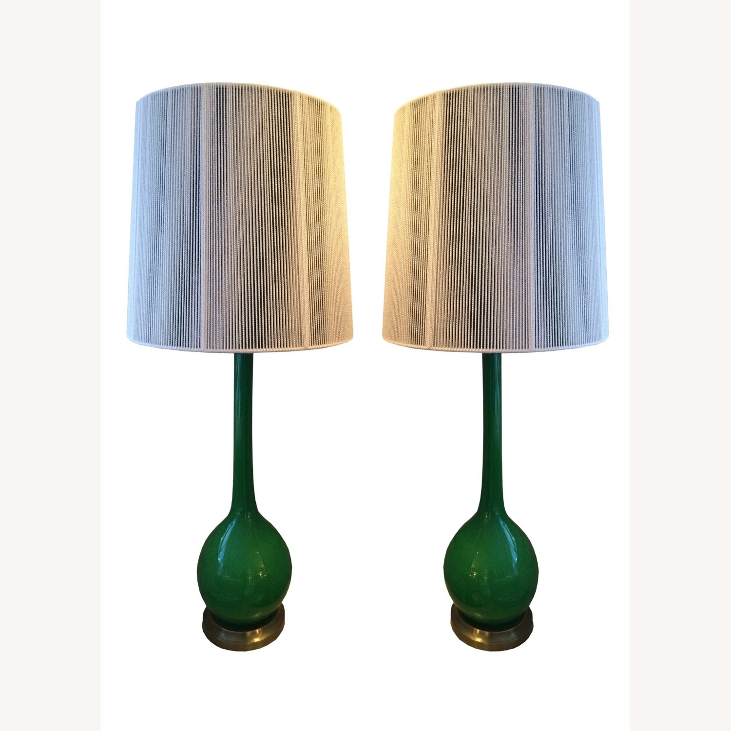 Pair of 1960s Green Glass Venetian Lamps with Custom Shades - image-0