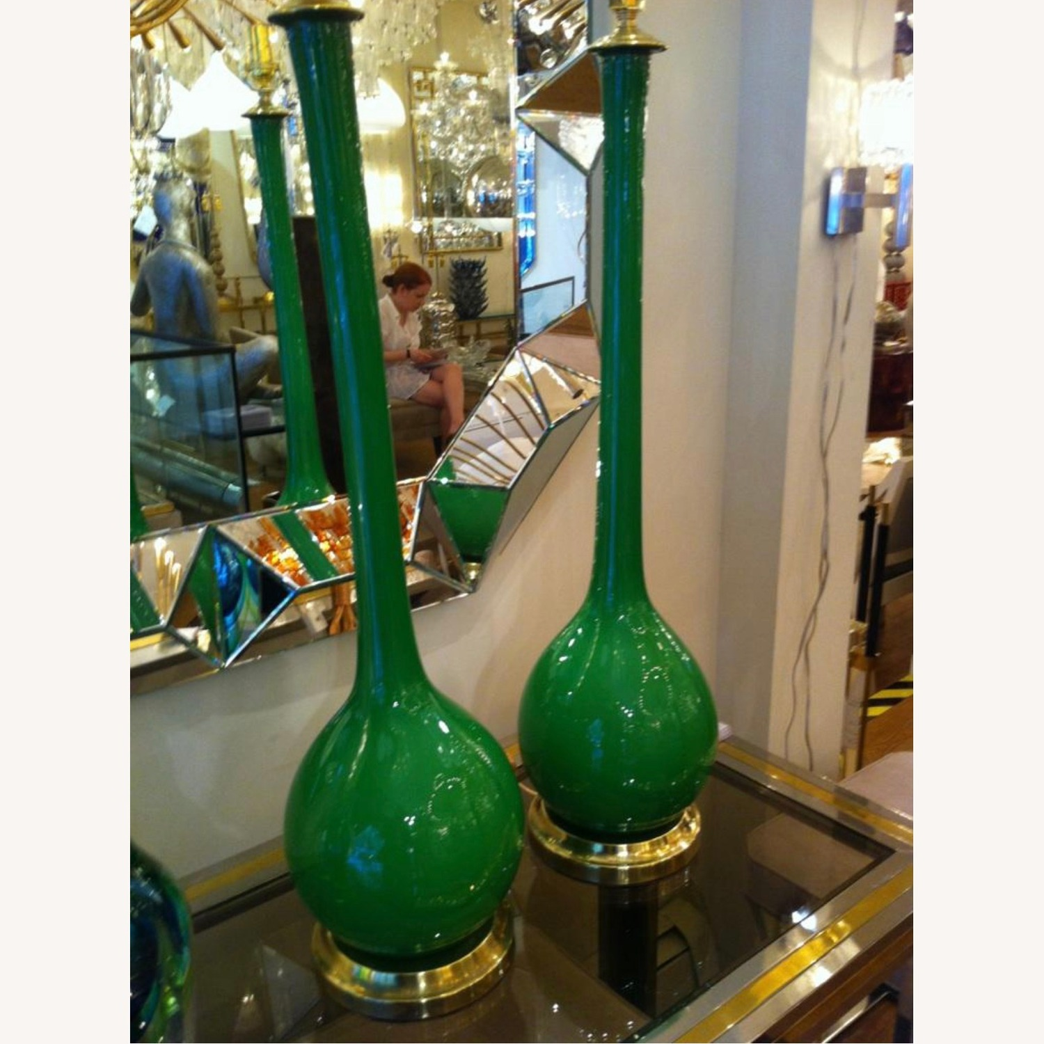 Pair of 1960s Green Glass Venetian Lamps with Custom Shades - image-1