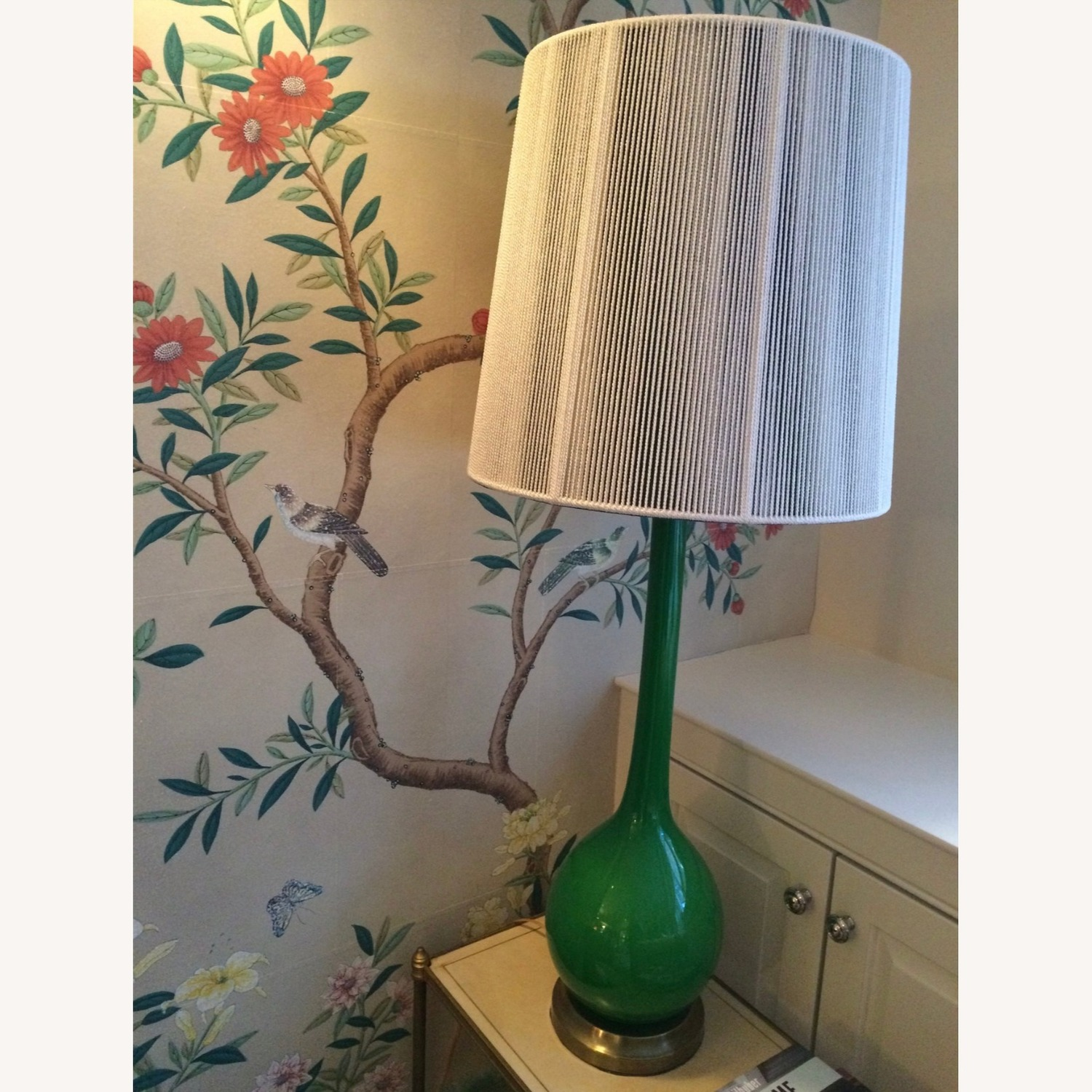 Pair of 1960s Green Glass Venetian Lamps with Custom Shades - image-2