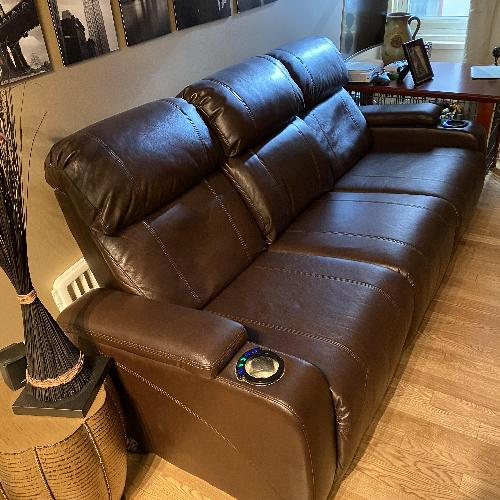 Used Raymor & Flanigan Stylus Power Recling Sofa for sale on AptDeco