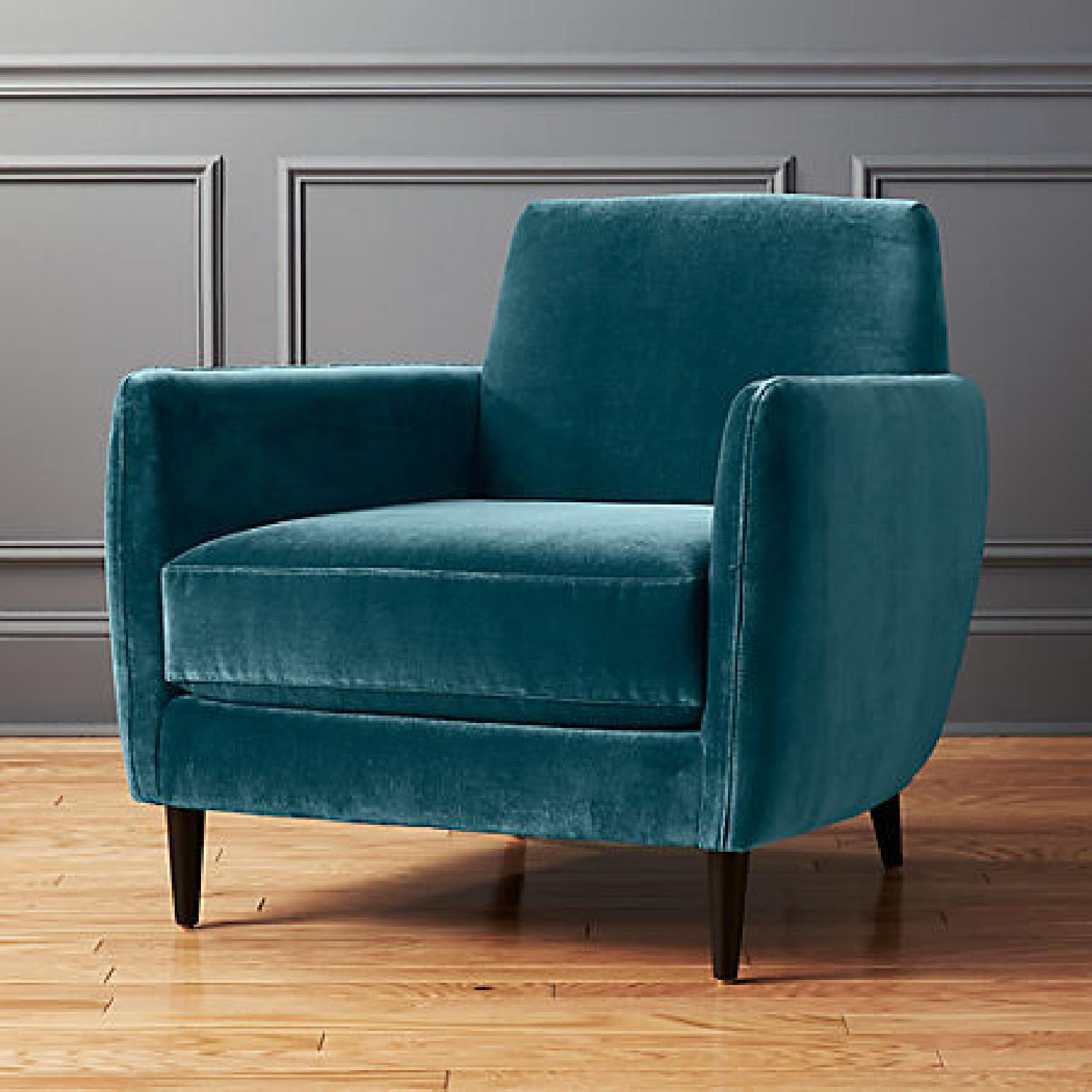 CB2 Parlour Chair in Cyan (Blue) Velvet - image-7