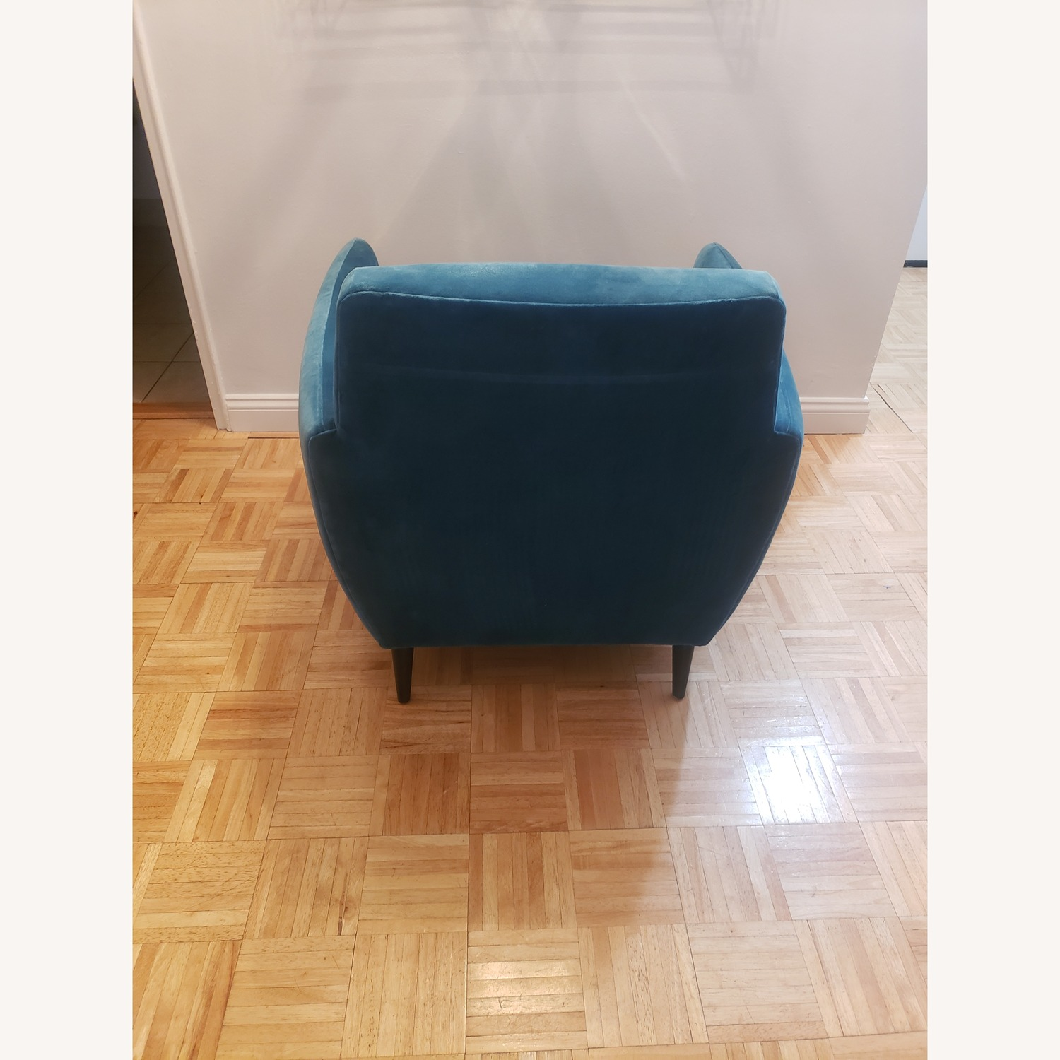CB2 Parlour Chair in Cyan (Blue) Velvet - image-6