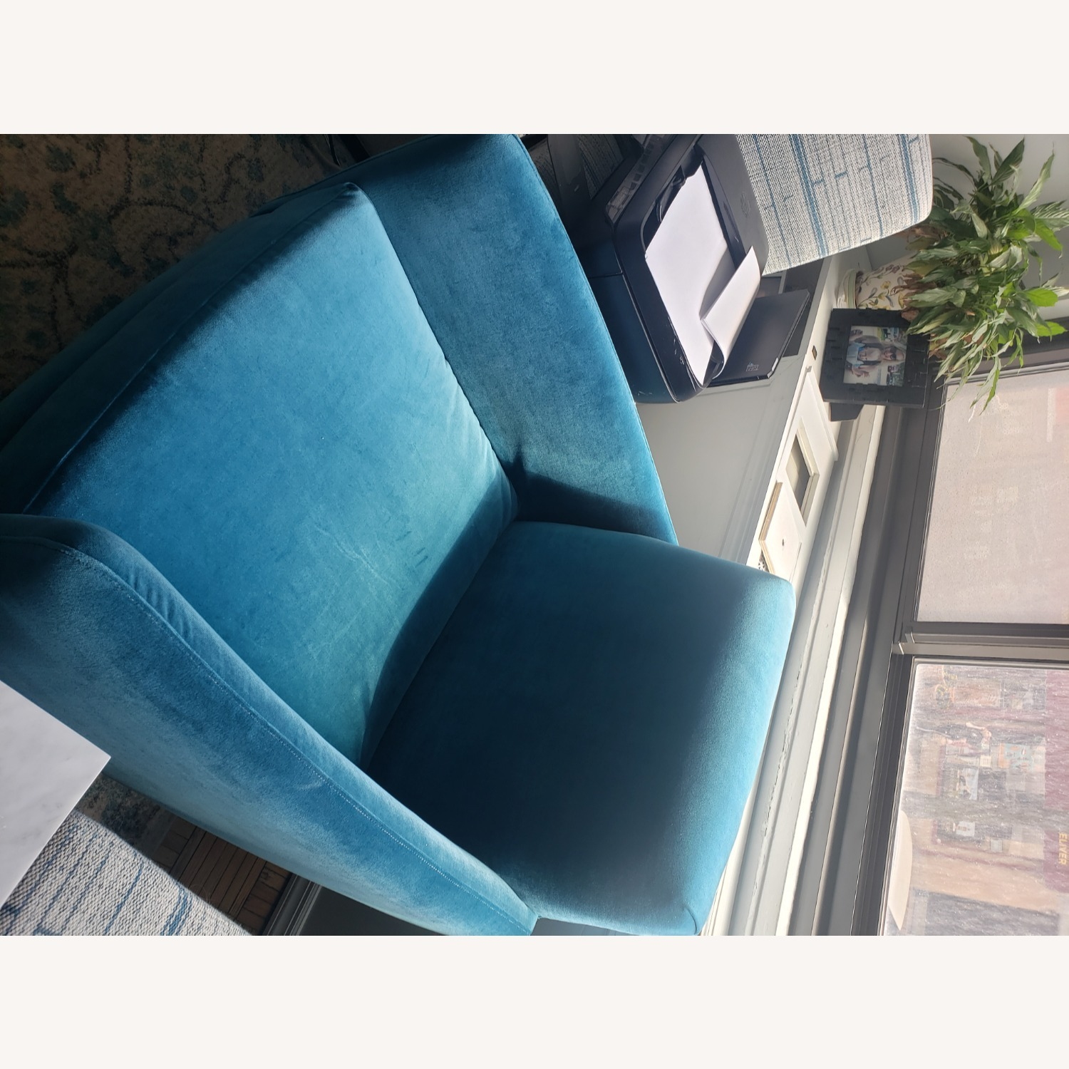 CB2 Parlour Chair in Cyan (Blue) Velvet - image-8