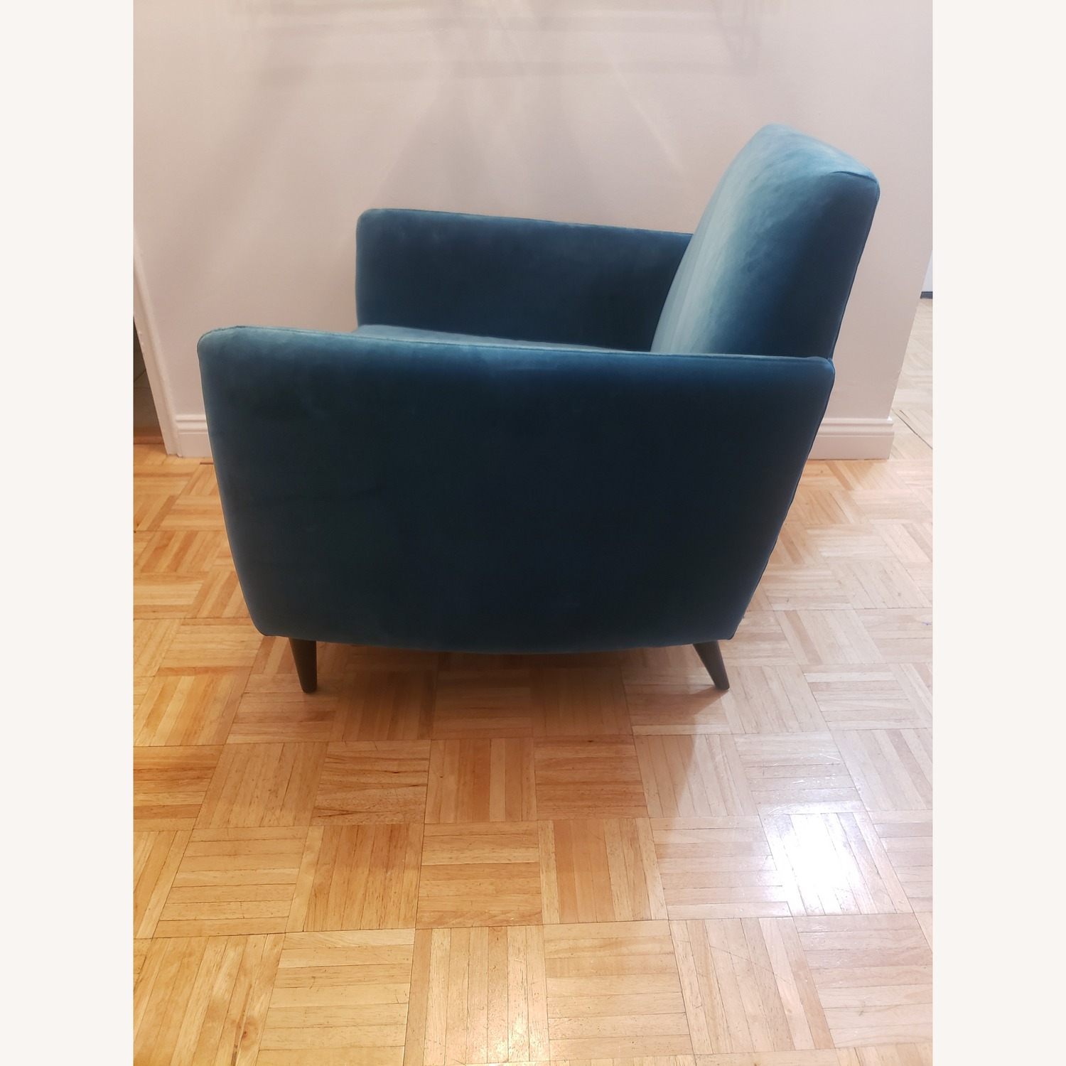 CB2 Parlour Chair in Cyan (Blue) Velvet - image-2
