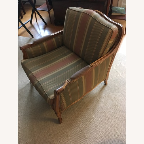 Used Striped Armchair Set with Real Wood for sale on AptDeco