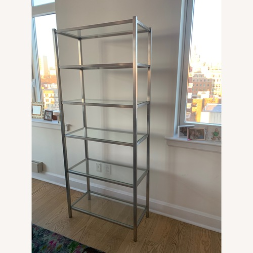 Used Room & Board Stainless Steel and Glass Bookcase for sale on AptDeco
