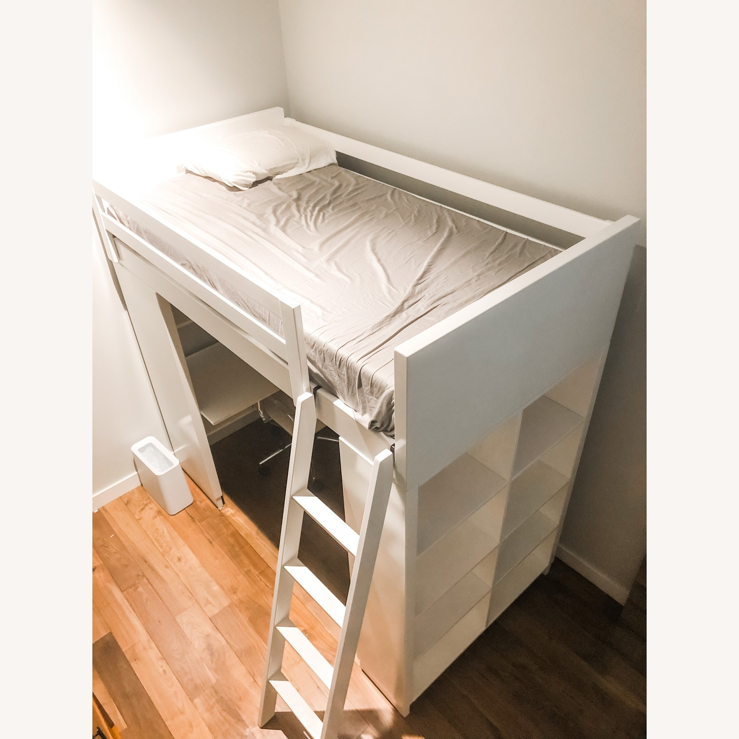 Loft Twin Bed with Bed and Bookcase - image-2