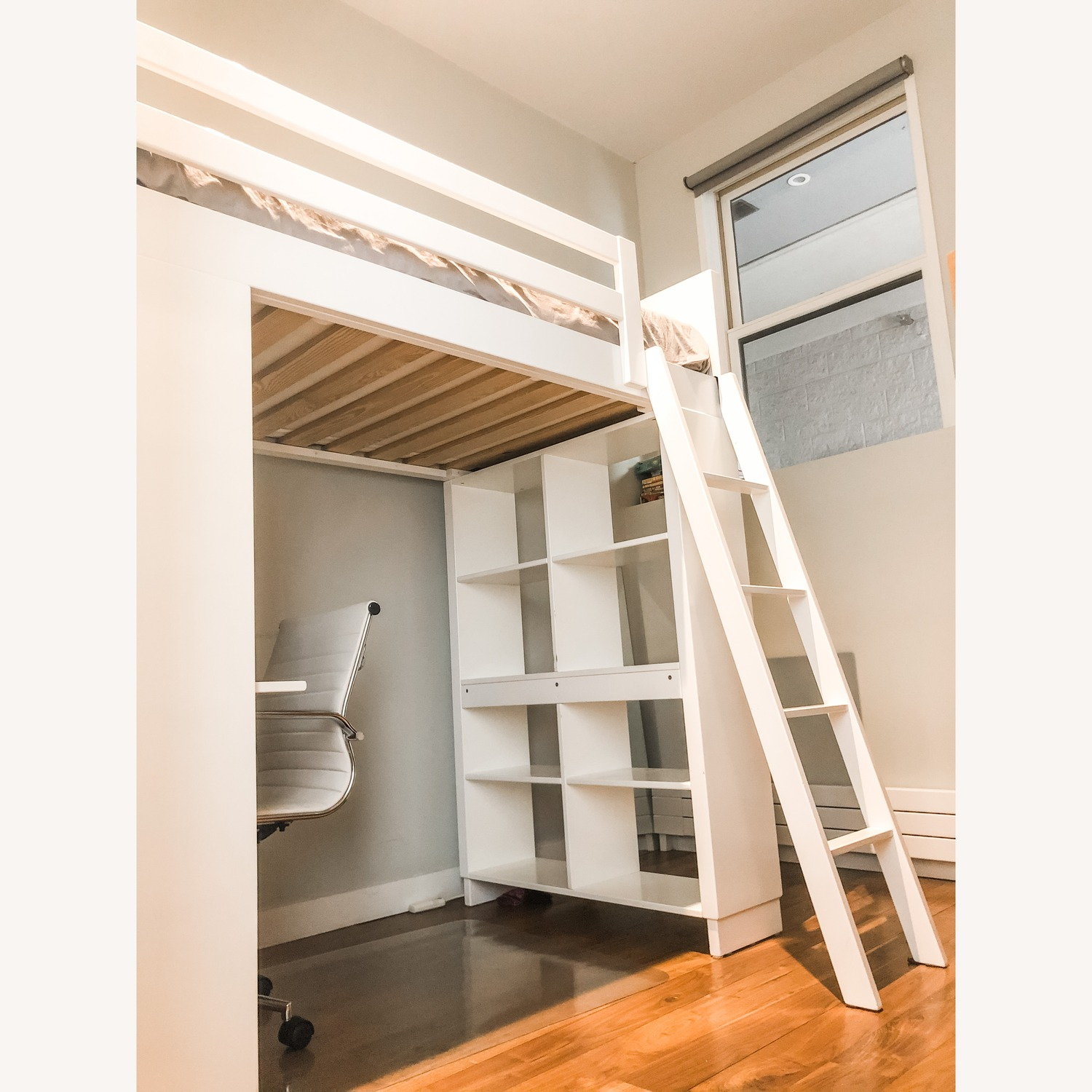 Loft Twin Bed with Bed and Bookcase - image-1