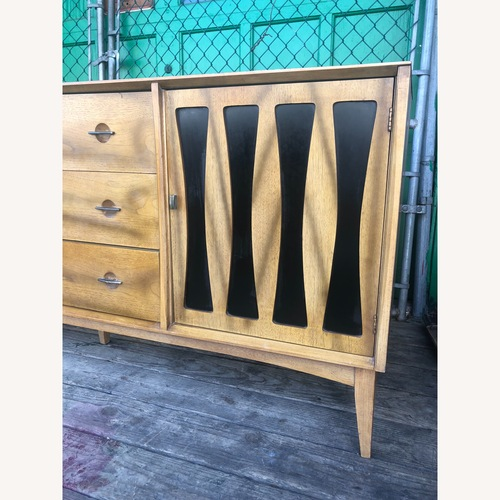 Used Mid century modern long dresser with black inlays for sale on AptDeco