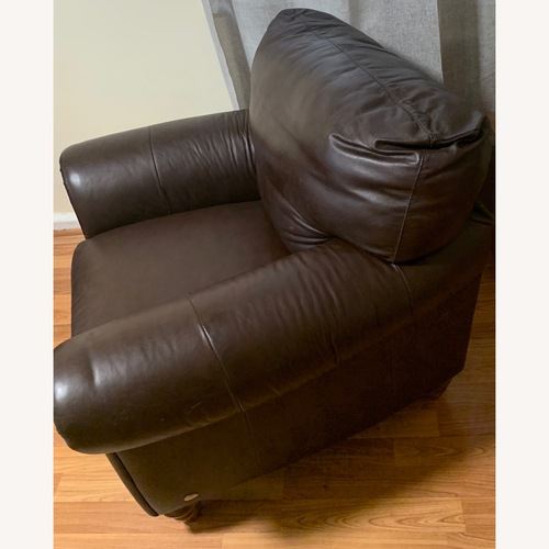 Used Dark Brown Cozy Leather Armchair for sale on AptDeco