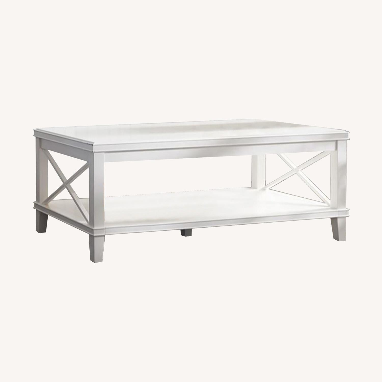 Pottery Barn White Cassie Coffee Table - image-0