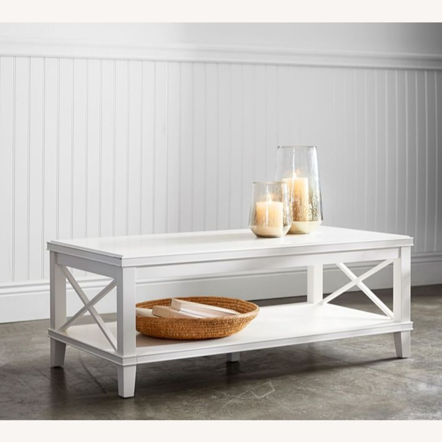 Pottery Barn White Cassie Coffee Table - image-1