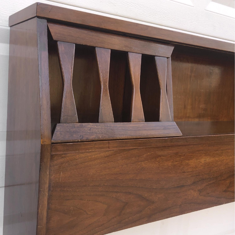 Mid-Century Queen Size Walnut Storage Headboard - image-6
