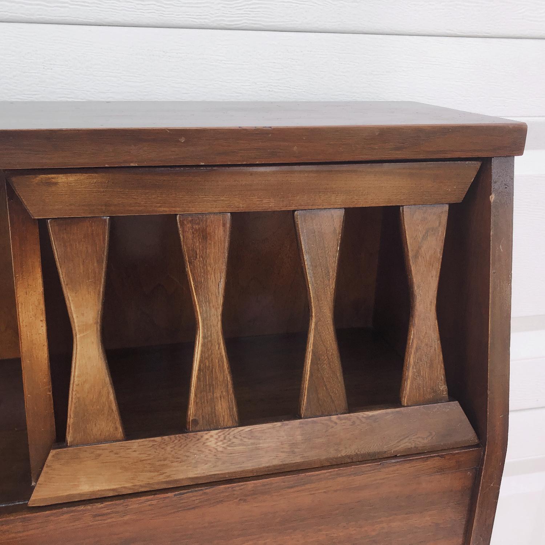 Mid-Century Queen Size Walnut Storage Headboard - image-8