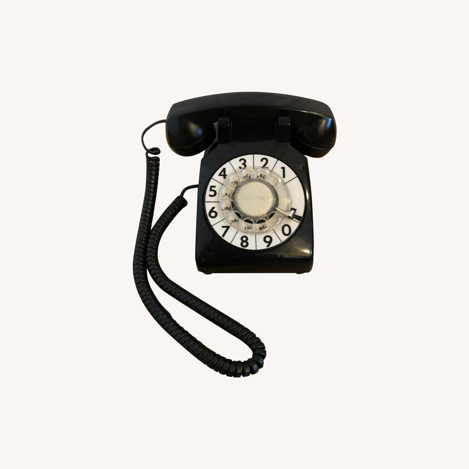 Mid Century Vintage Rotary Dial Large Number Black Telephone