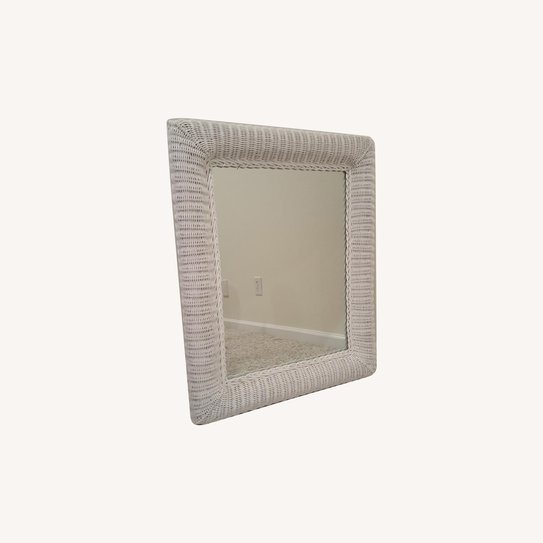 White Wicker Mirror - image-0