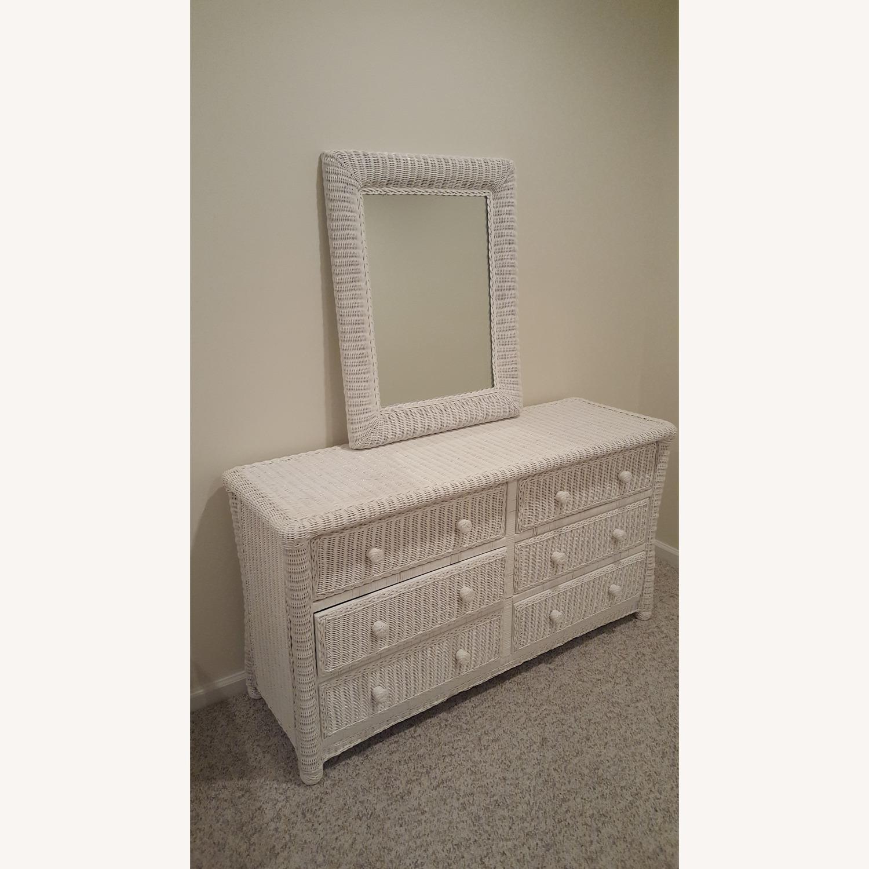 White Wicker Mirror - image-2