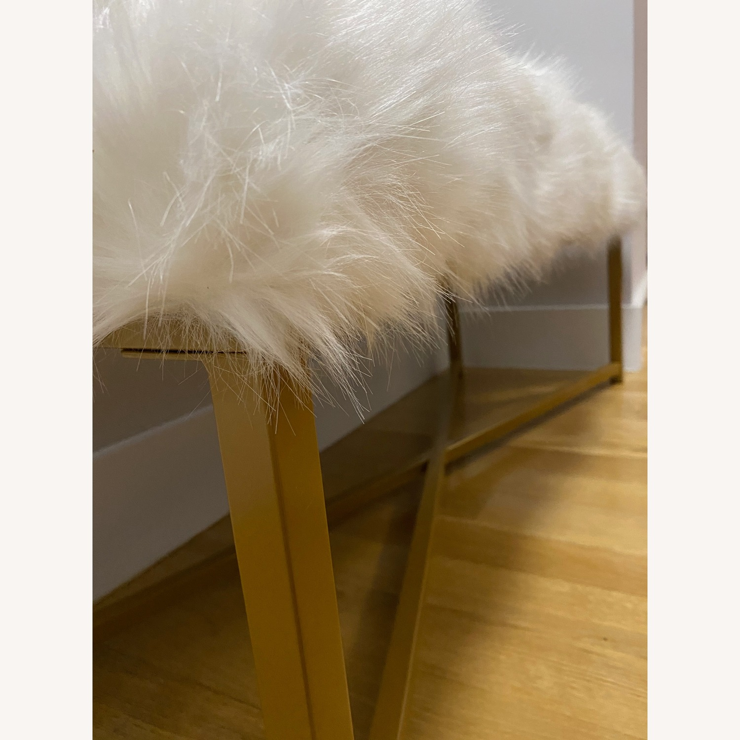 Faux Fur White Rectangle Bench - HomePop - image-5