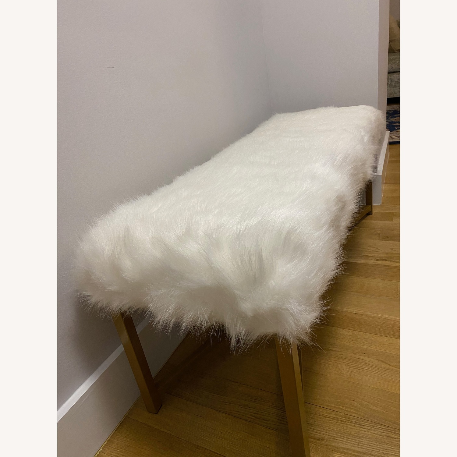 Faux Fur White Rectangle Bench - HomePop - image-3