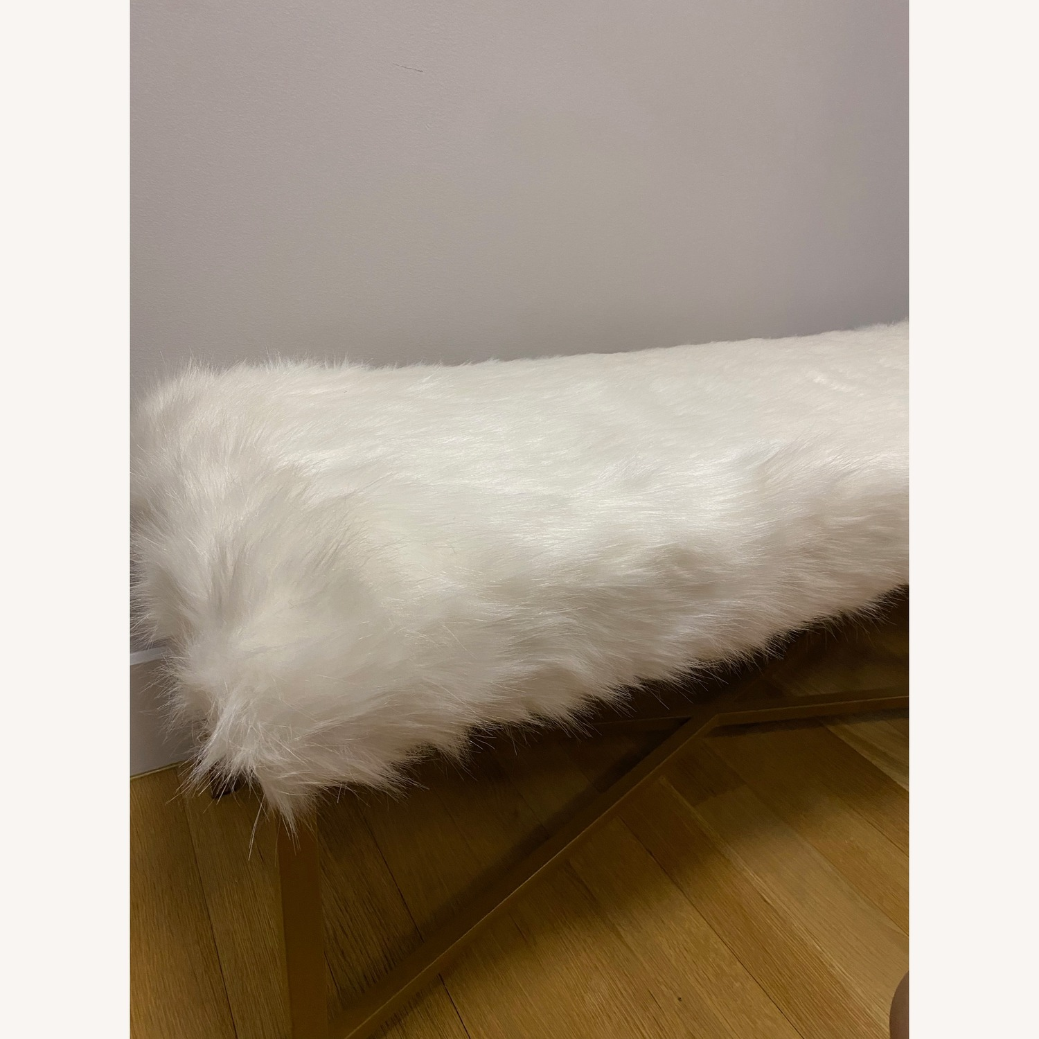 Faux Fur White Rectangle Bench - HomePop - image-6