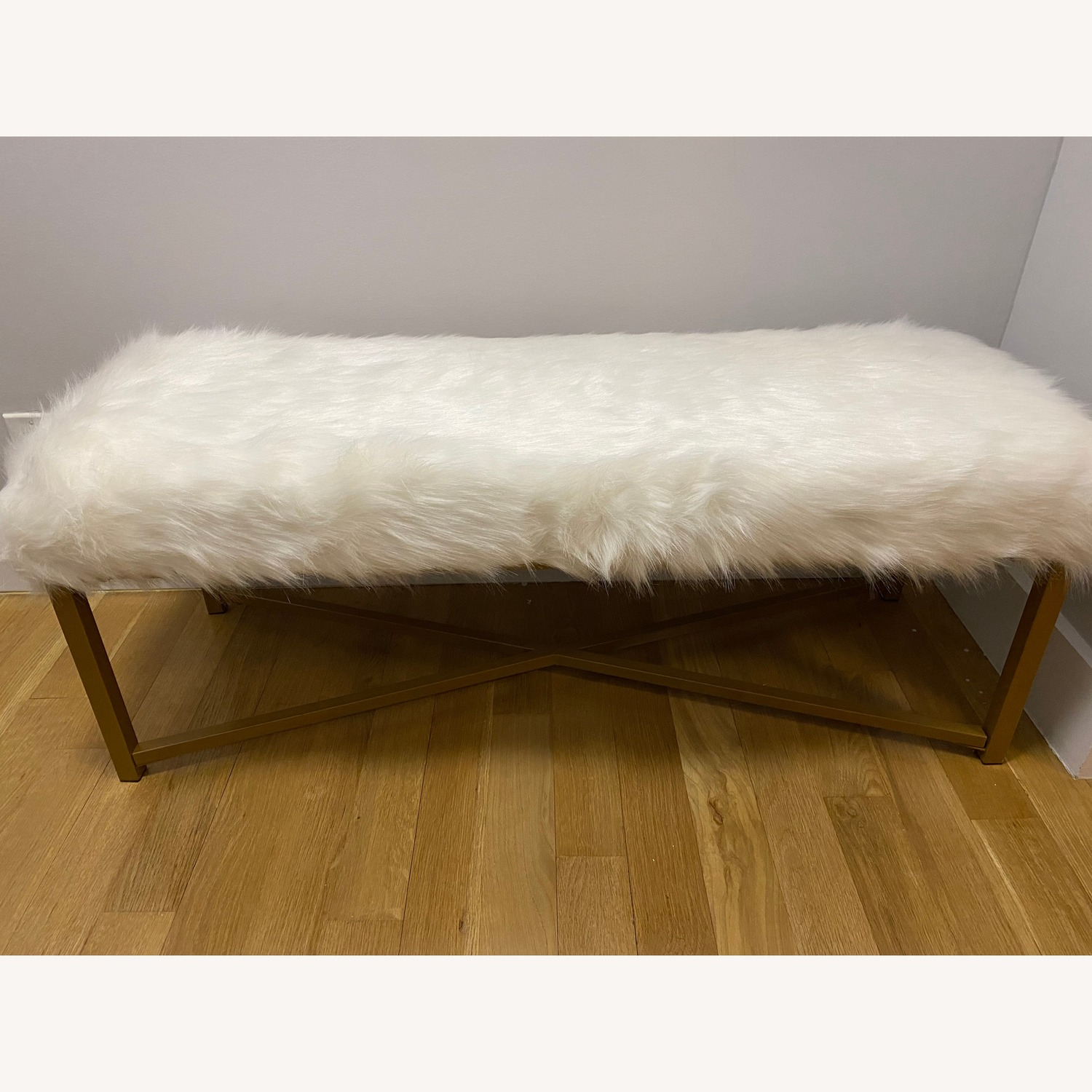 Faux Fur White Rectangle Bench - HomePop - image-1