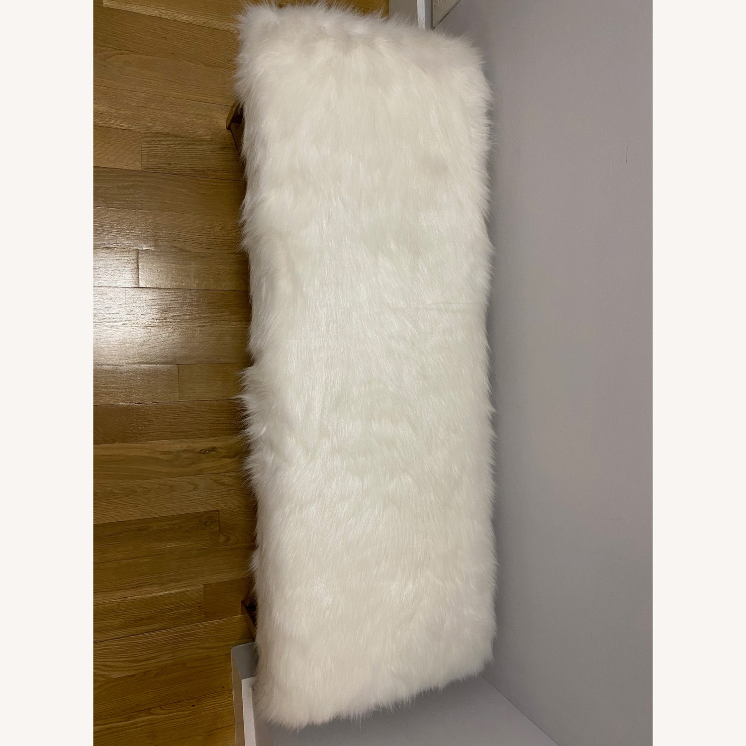 Faux Fur White Rectangle Bench - HomePop - image-2