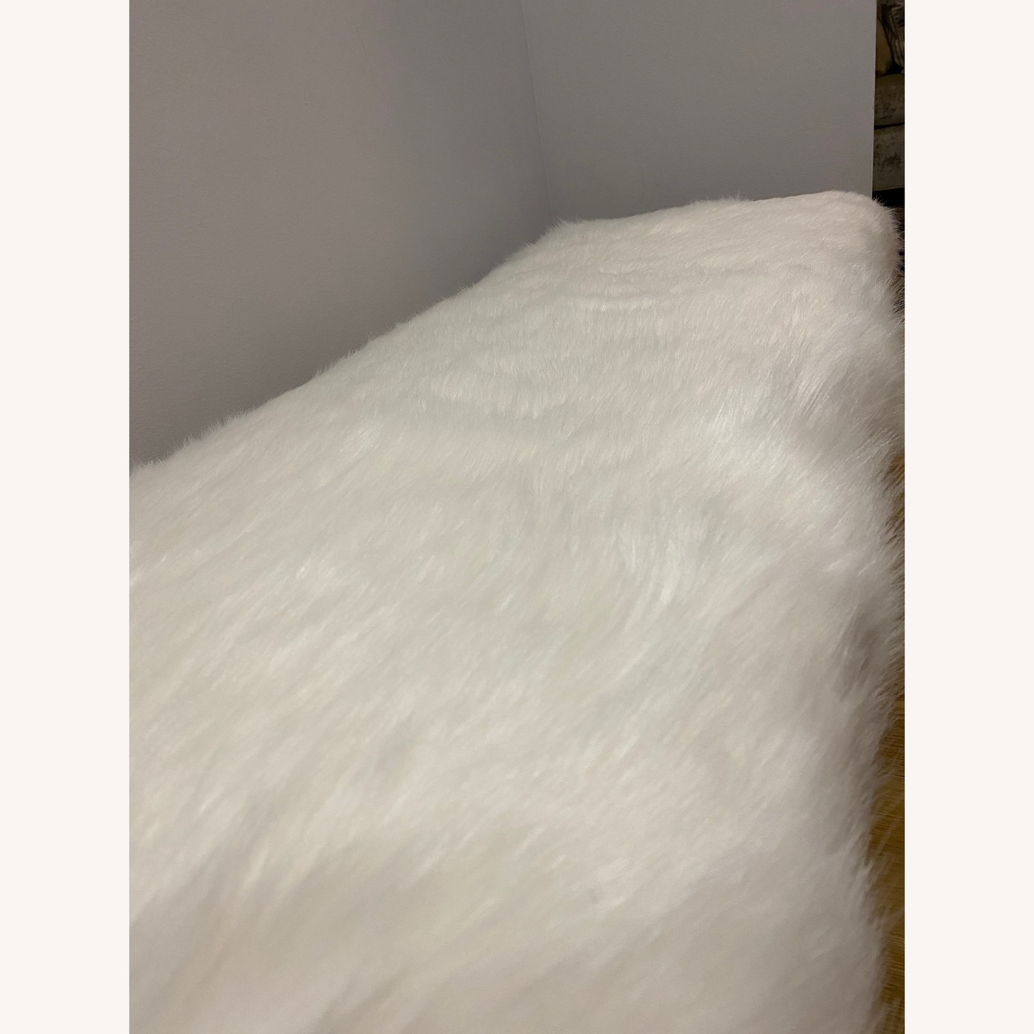 Faux Fur White Rectangle Bench - HomePop - image-4