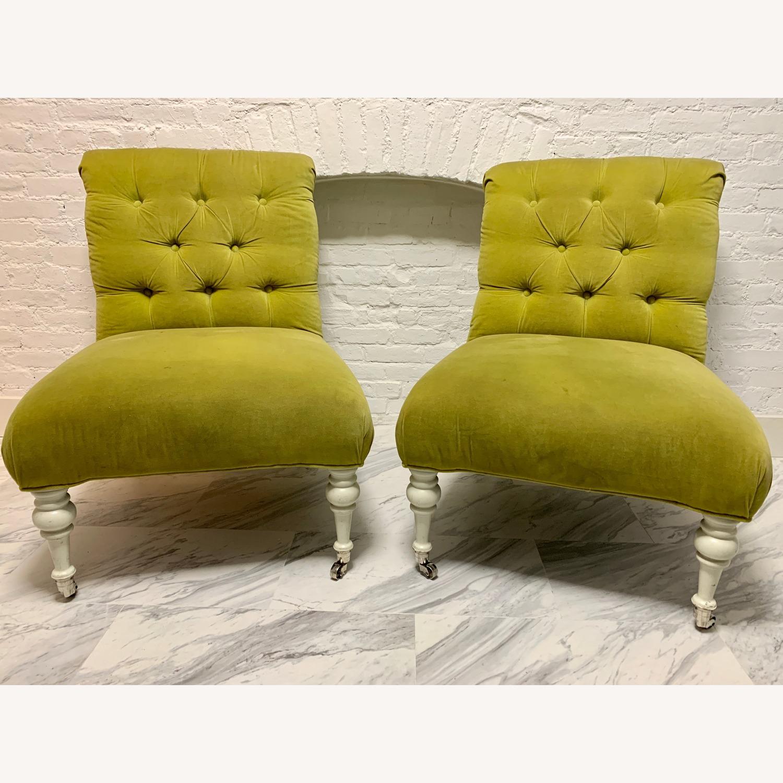 Velvet Tufted Slipper Chairs - Set of 2 - image-1