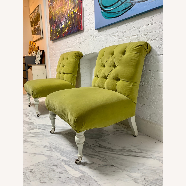 Velvet Tufted Slipper Chairs - Set of 2 - image-4