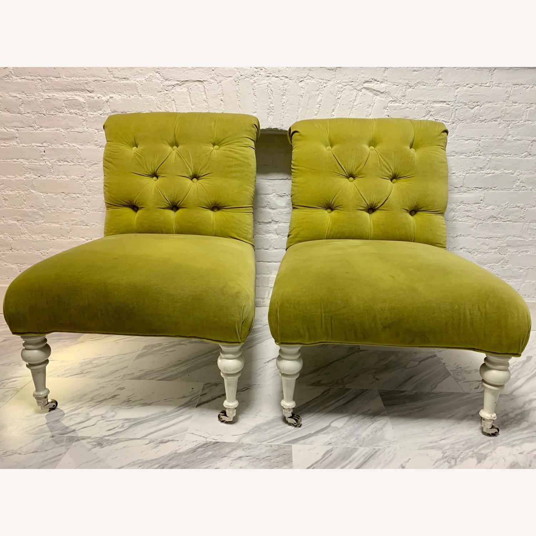 Velvet Tufted Slipper Chairs - Set of 2 - image-2