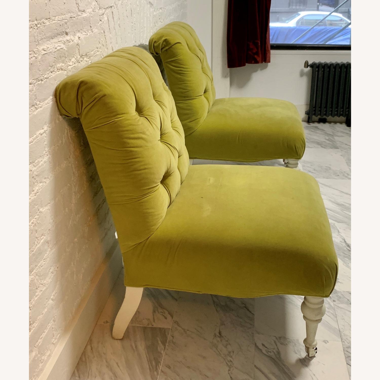 Velvet Tufted Slipper Chairs - Set of 2 - image-3