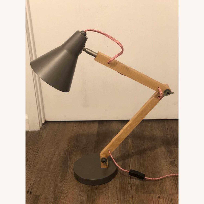 Crate & Barrel Wood & Colored Metal Task Desk Lamp