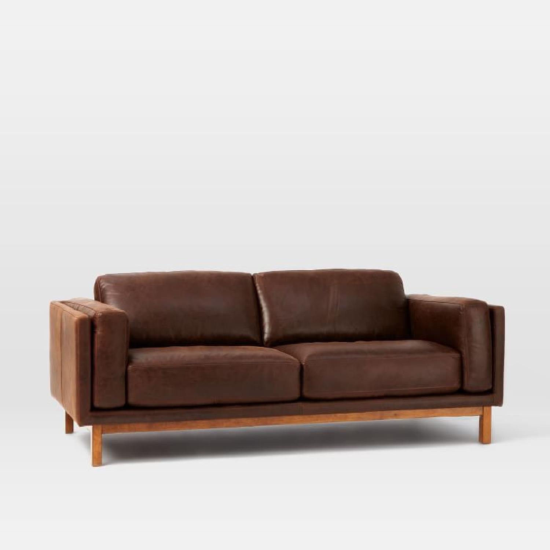 West Elm Weston Leather Sofa in Molasses - image-4