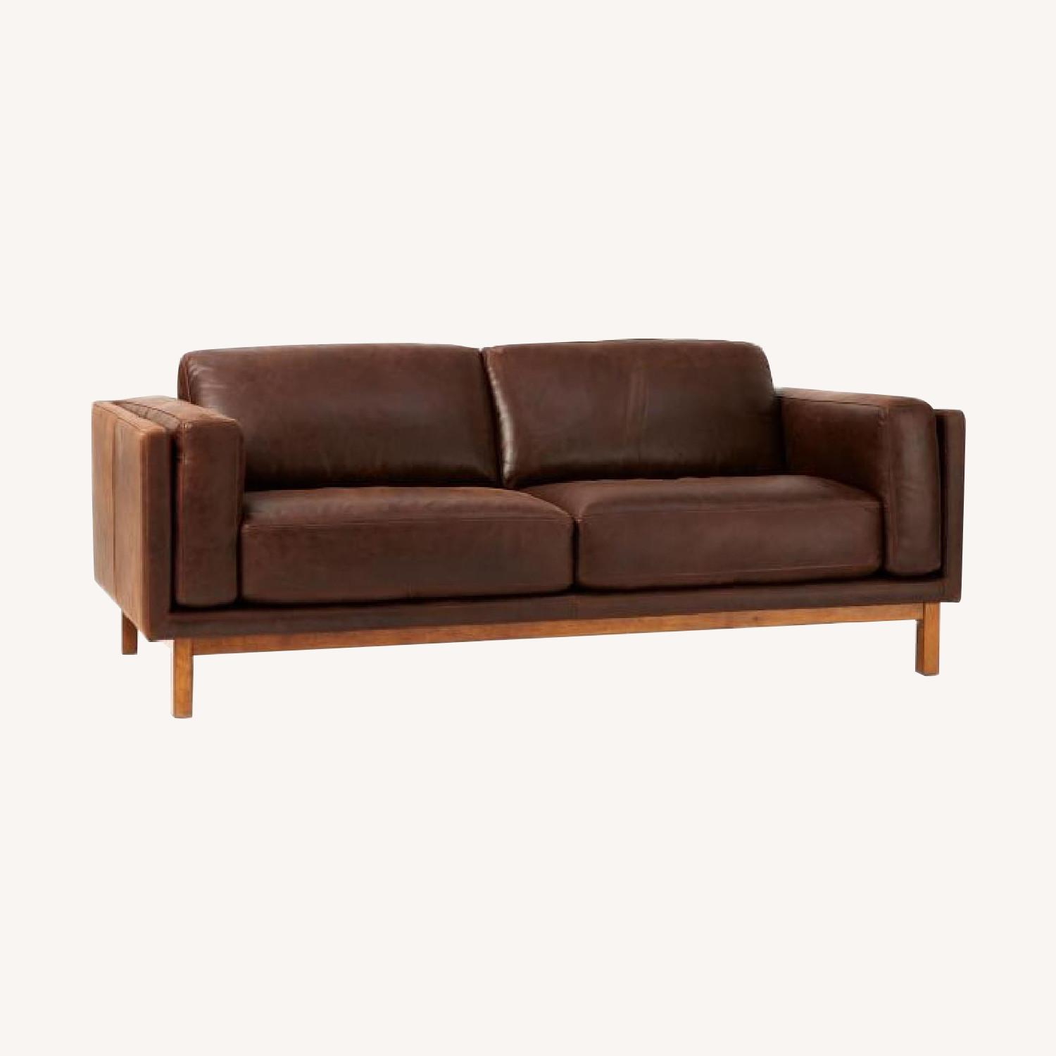 West Elm Weston Leather Sofa in Molasses