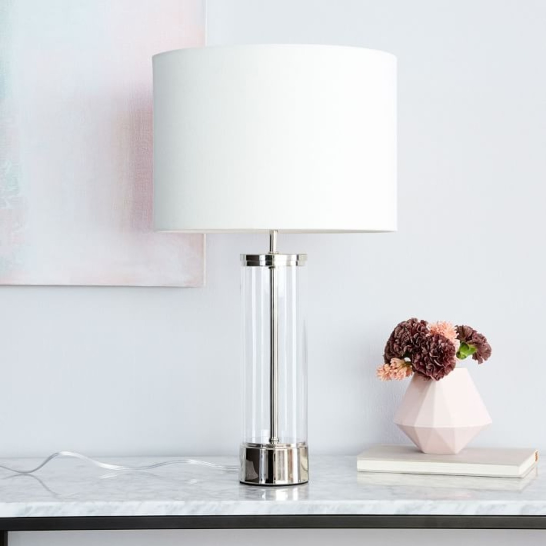 Set of 2 West Elm Acrylic Column Table Lamps-Polished Nickel