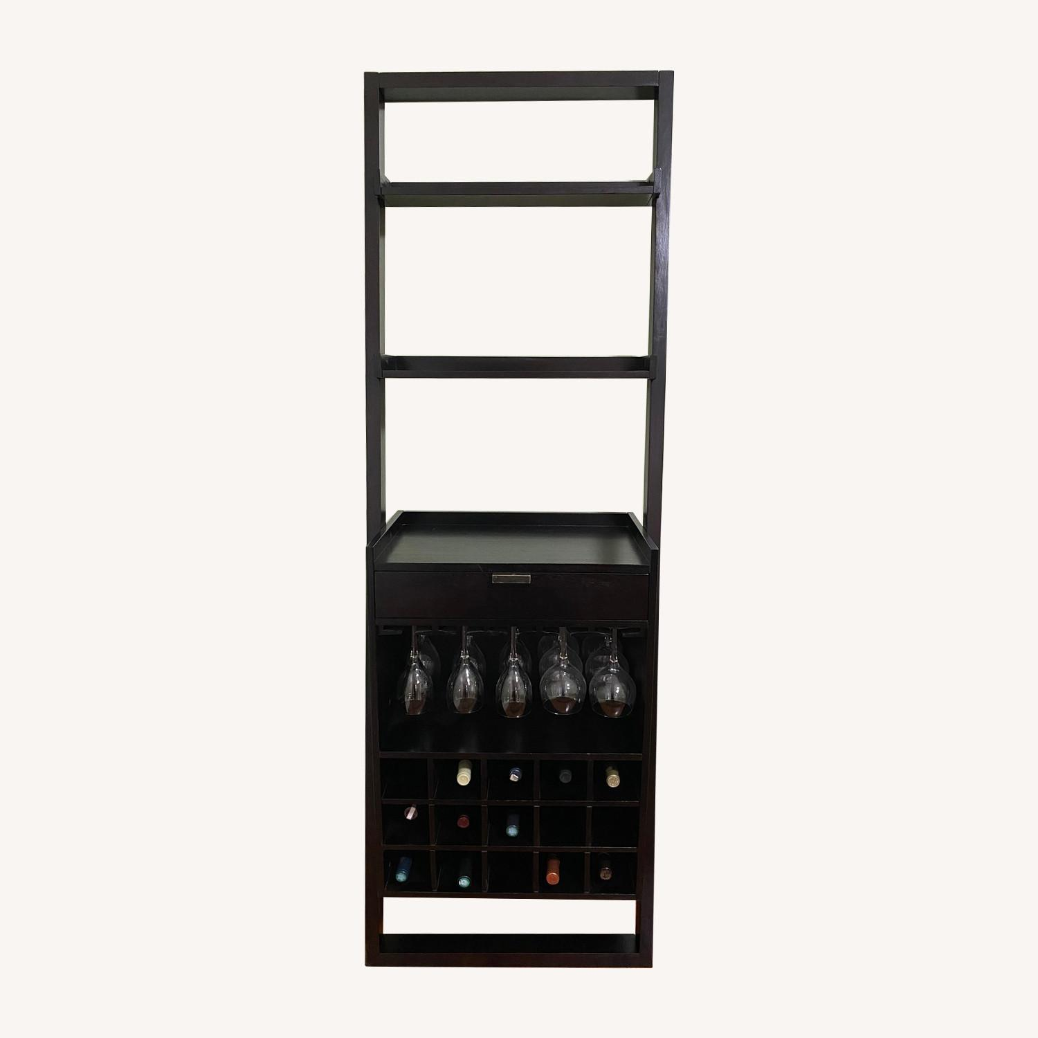 Crate & Barrel Sloane Espresso Leaning Wine Bar - image-0