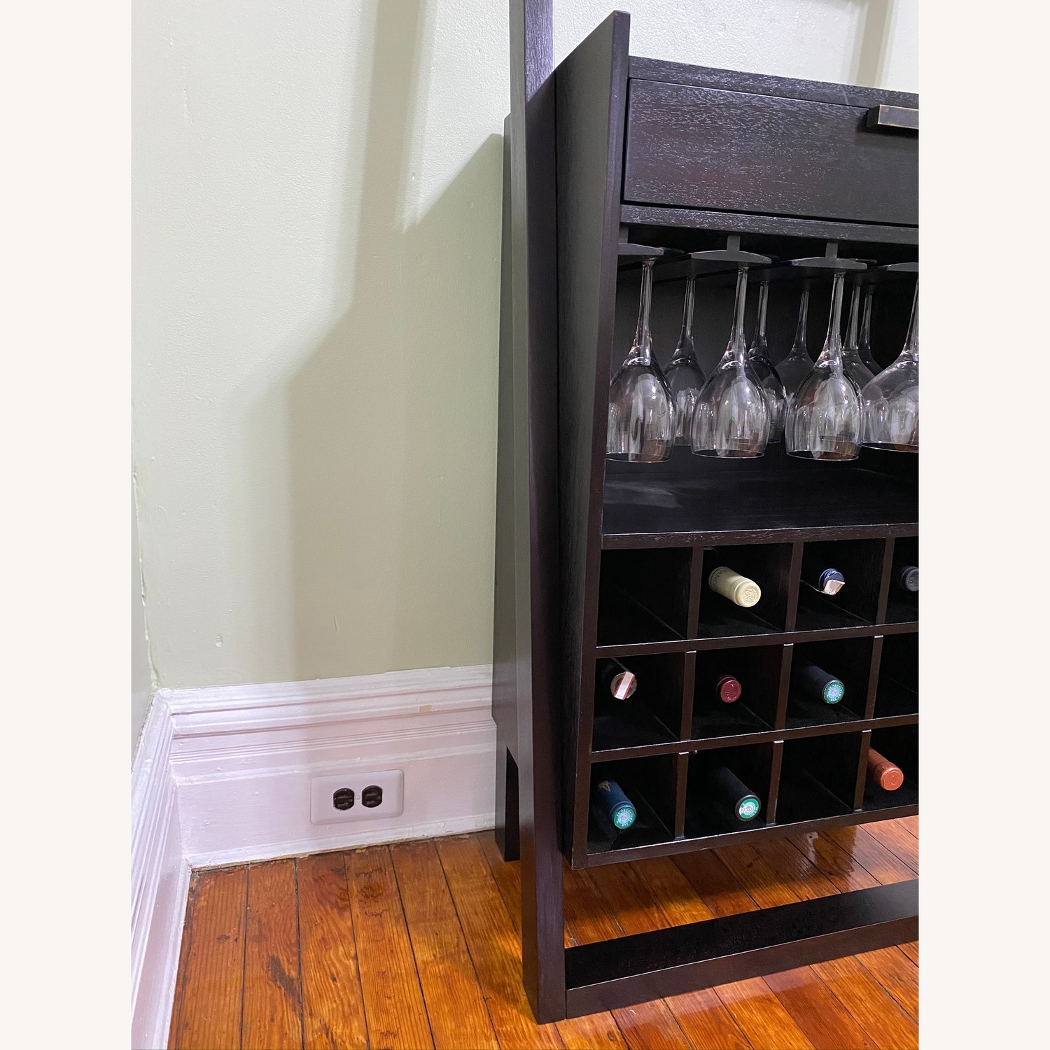 Crate & Barrel Sloane Espresso Leaning Wine Bar - image-7